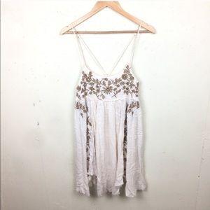 Free People Embroidered Boho Floral Mini Dress